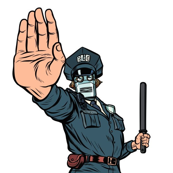 stoppen sie die handgeste roboter polizist