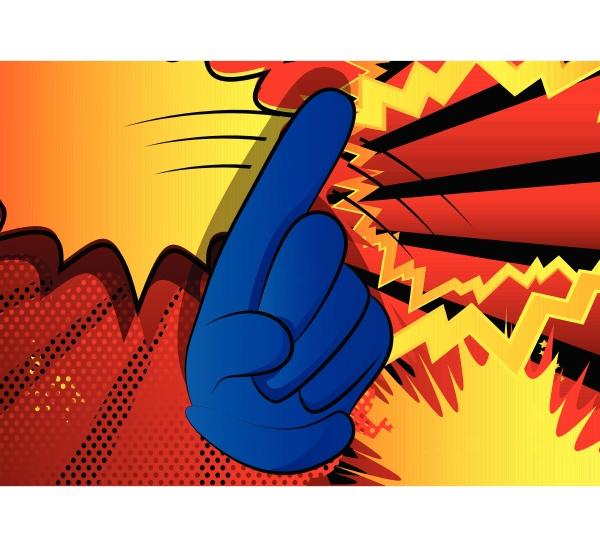 cartoon sagt nein mit dem finger