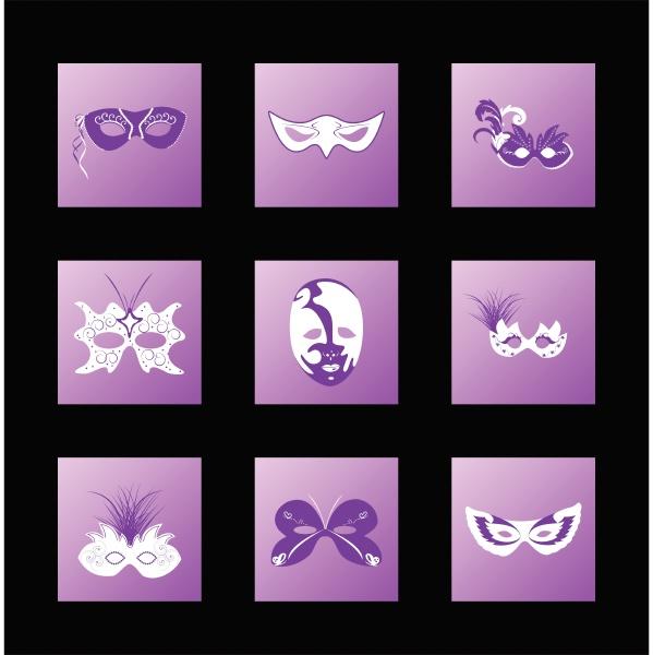set ikone der karnevalsmaske vektor