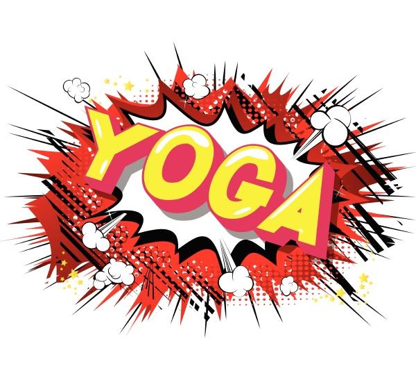 yoga comic buchstil satz