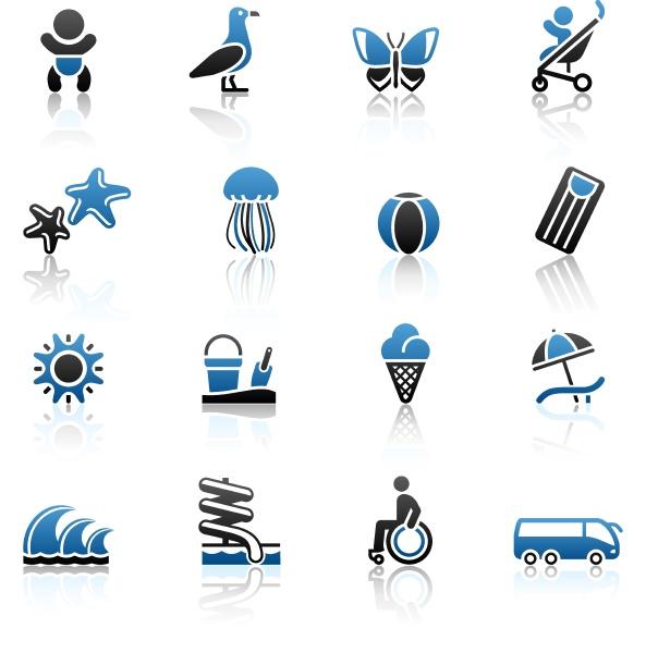 tourismus erholung urlaub icons set