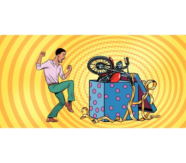 afrikanischer, mensch, und, motorrad-urlaub, geschenkbox, lustige, reaktionsfreude. - 26572412
