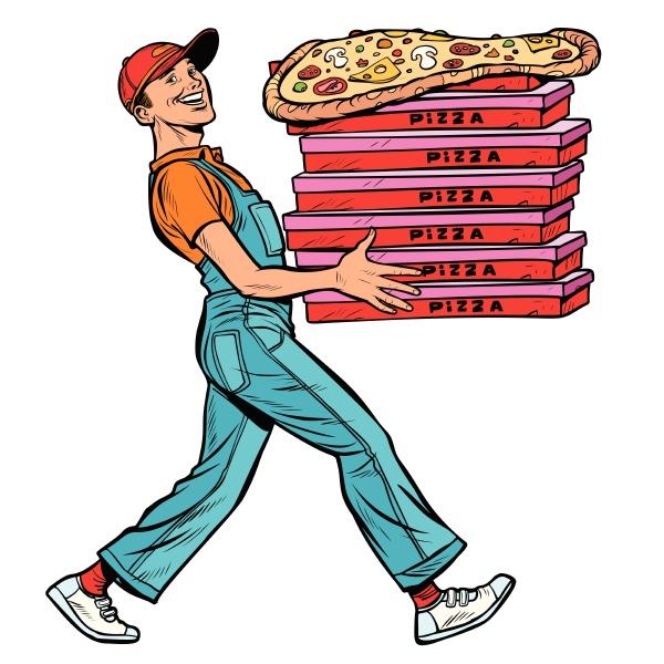 jungen mann pizza junge lebensmittel lieferung