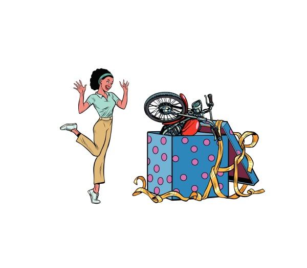 motorrad-urlaub-geschenk-box., afrikanische, frau, lustige, reaktion, isolieren - 26598246