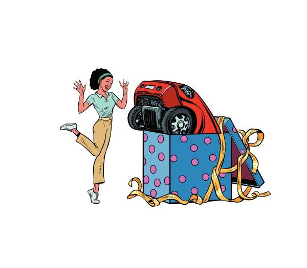 auto urlaub geschenk box afrikanische frau