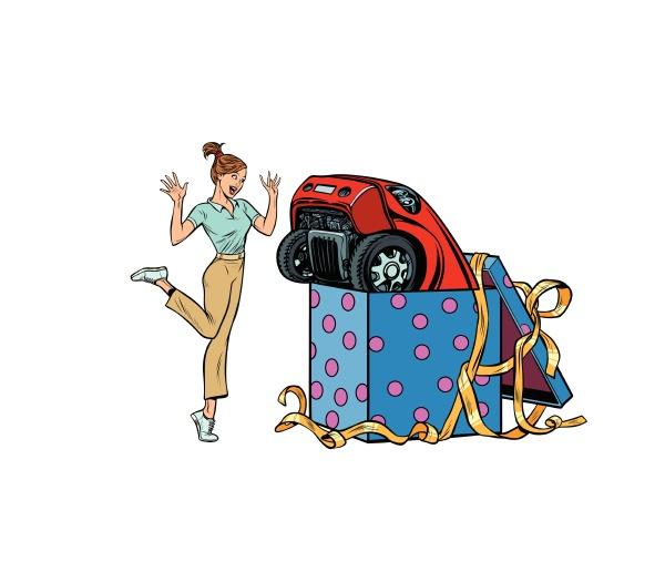 frau UEberraschung auto geschenk isolieren auf