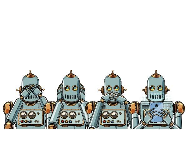 roboter mit telefon internet suchtkonzept isolieren