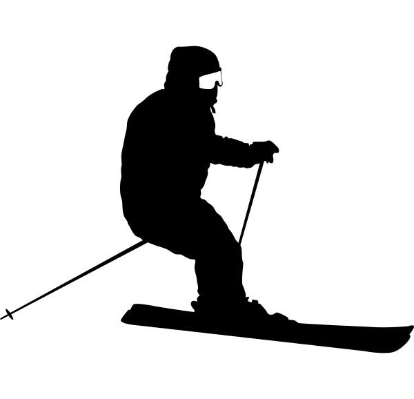 bergskifahrer der die pistensport silhouette hinunterrast