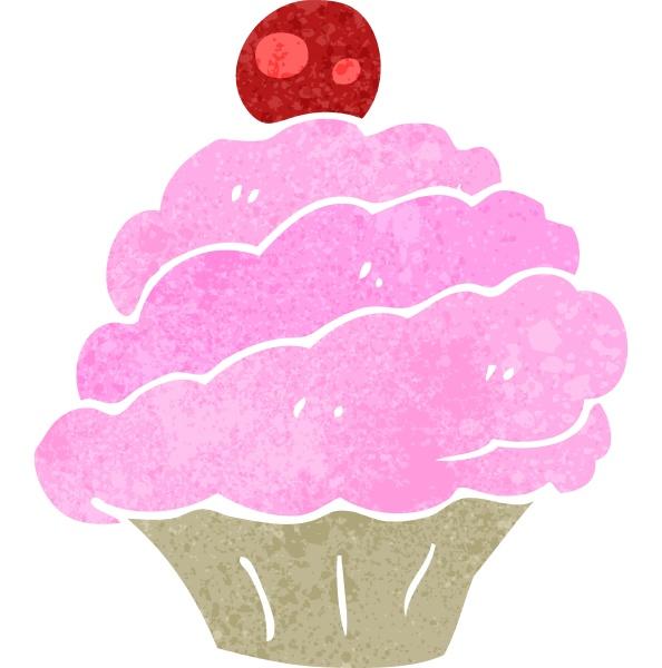 retro cartoon rosa cupcake