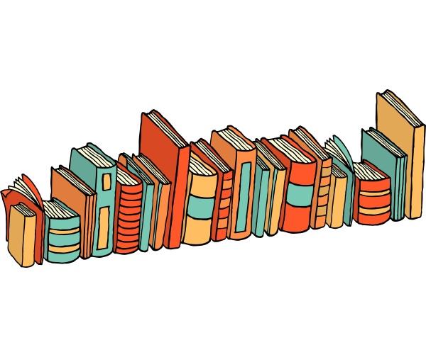 verschiedene stehende buecher bibliotheksstapel