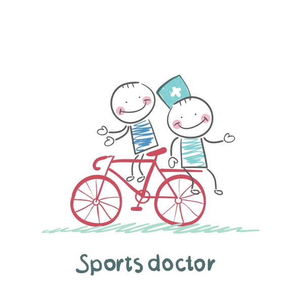 sportarzt faehrt mit einem patienten fahrrad