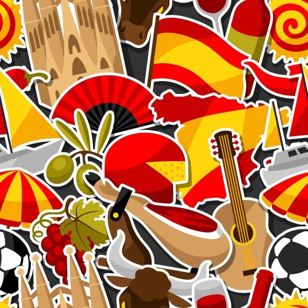 spanien nahtlose muster spanische traditionelle aufkleber