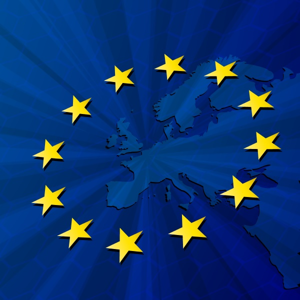 europakarte und flagge der europaeischen union