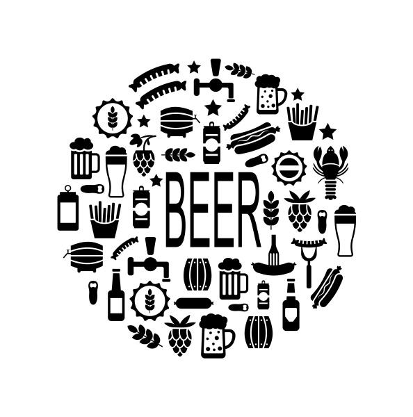illustration schwarze symbole von bier und