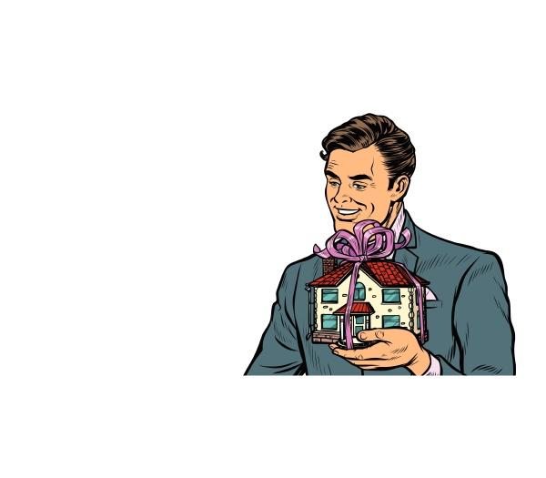 geschaeftsmann verkaufe immobilien haus als geschenk
