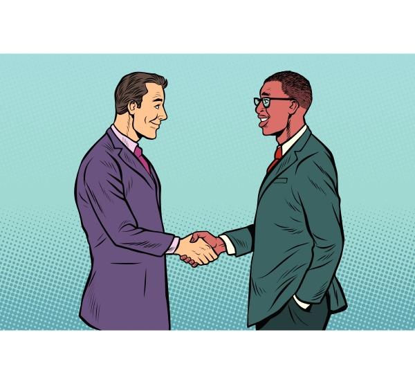 afrikanische und kaukasische geschaeftsleute maenner handshake