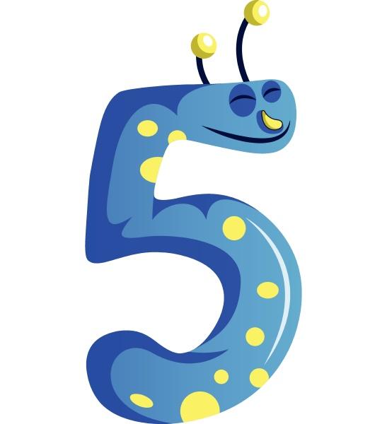 blaues monster in form von nummer