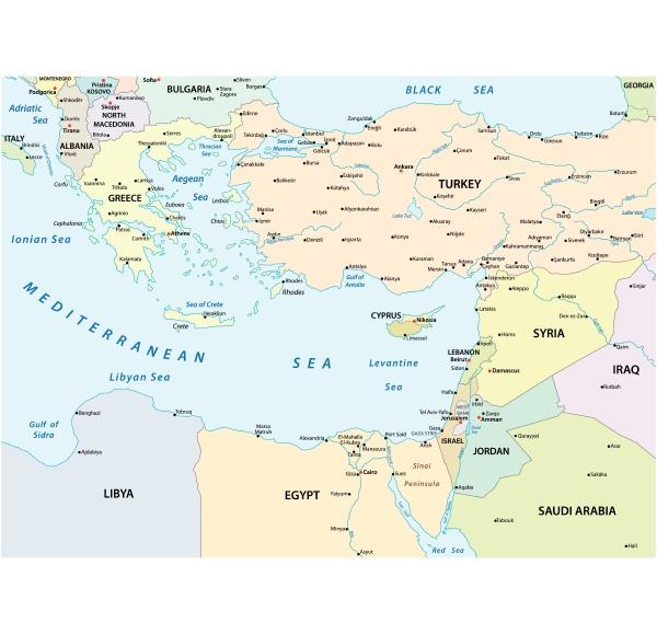 laenderkarte des oestlichen mittelmeers