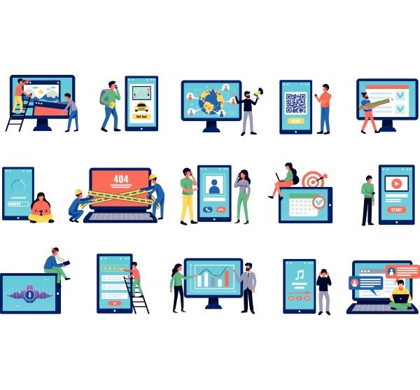 mobile anwendungen und benutzersymbole mit drahtlosen