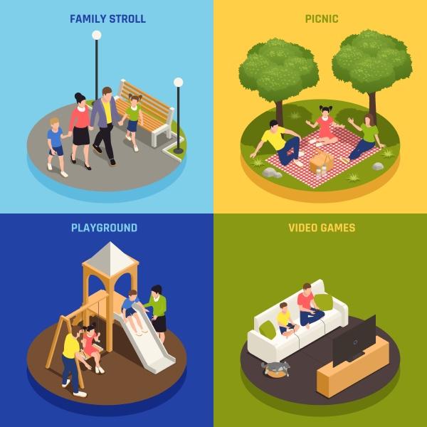 familienspiel konzept symbole mit picknick und