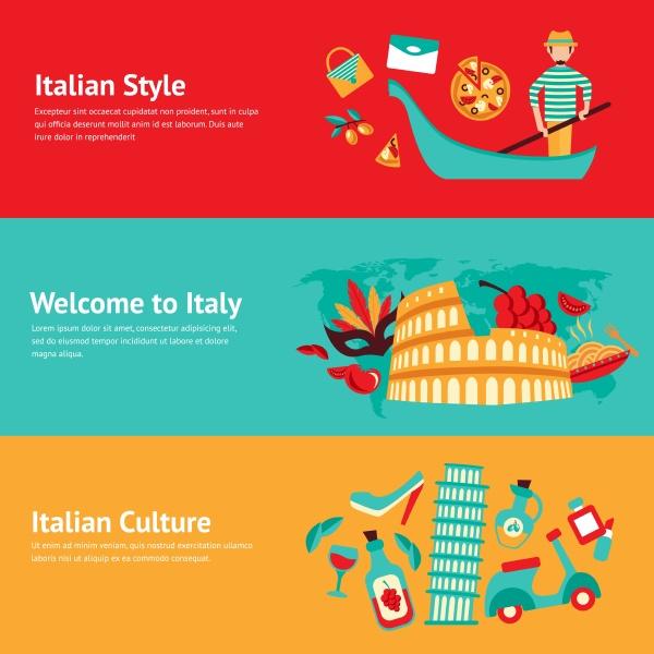 italien banner gesetzt mit italienischen stil