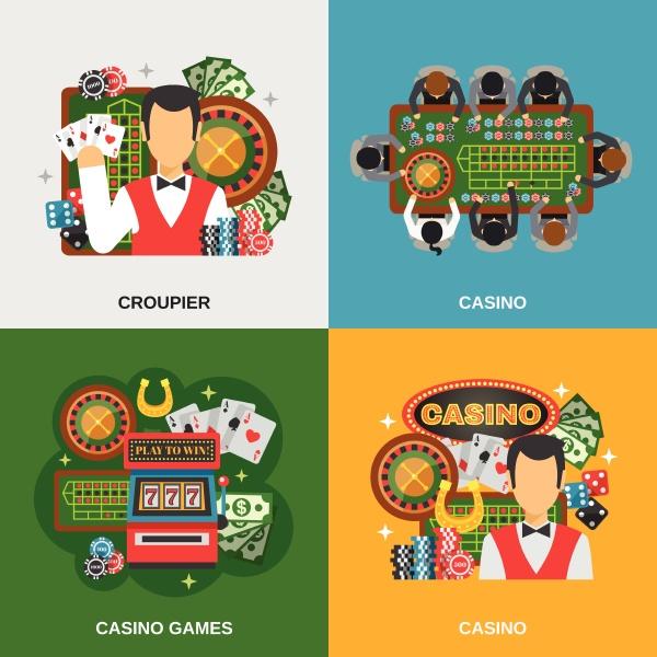 casino konzept icons mit croupier und