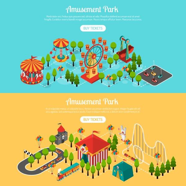 vergnuegungspark 2 isometrische interaktive horizontale banner
