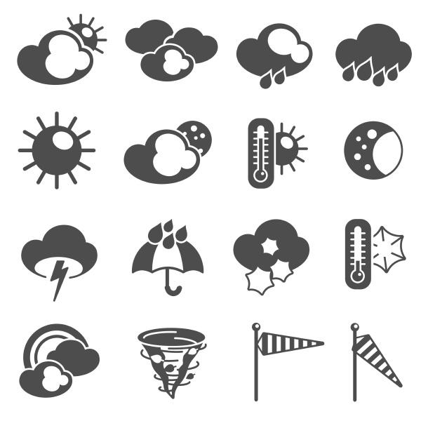 wettervorhersage symbole schwarze piktogramme mit thermometer
