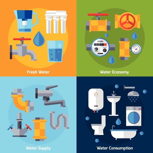 wasserversorgung design konzept set mit wirtschaftlichkeit