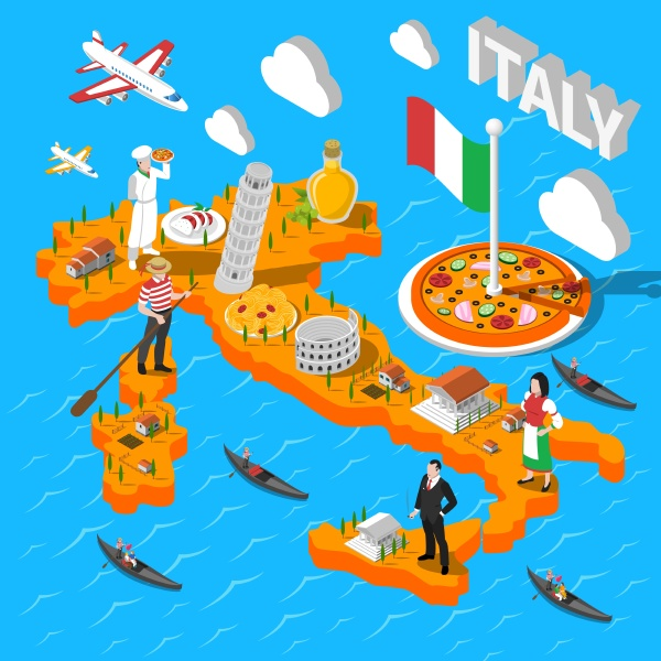 italien isometrische kulturelle sightseeing karte fuer