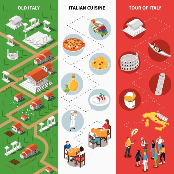italien touristen attraktionen isometrischen bildfuehrer 3