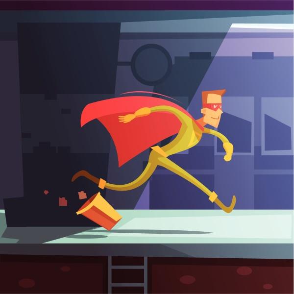superheld laeuft in der strasse mit