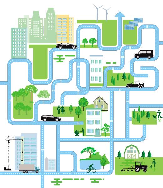 stadtplan leben in der stadt illustration