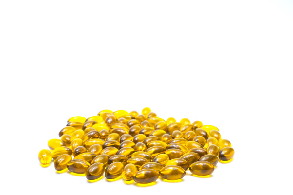 gelbe, softgelkapsel, auf, weißem, hintergrund, - 27239124