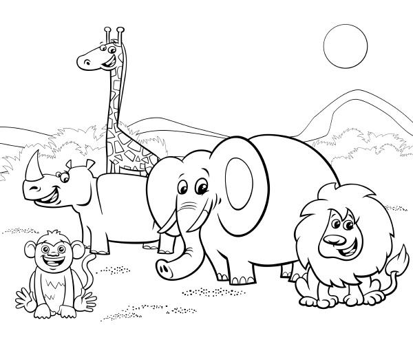 cartoon safari tiere gruppe faerbung seite