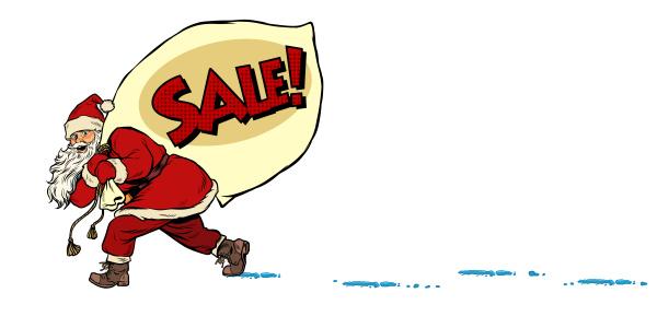 weihnachtsverkaufs geschaeftskonzept weihnachtsmann mit einer tuete