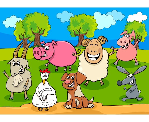 glueckliche nutztiere cartoon figuren gruppe