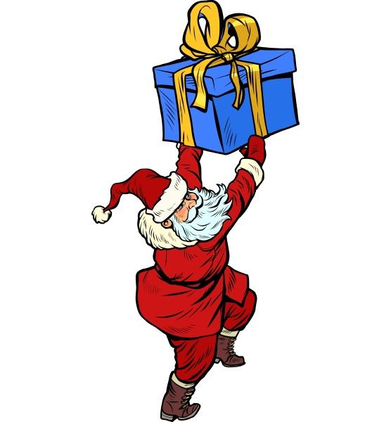 weihnachtsmann mit weihnachtsgeschenk box