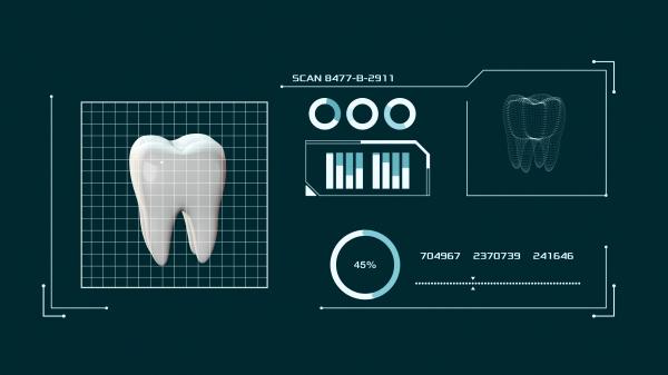 menschlicher zahn und eine scan software