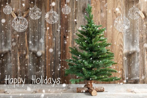 ein weihnachtsbaum kalligraphie happy holidays schnee