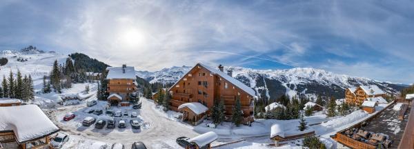luftaufnahme des skigebiets meribel frankreich