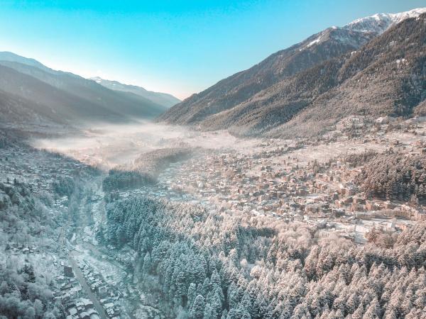 luftaufnahme der schneebedeckten stadt manali in