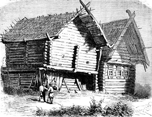 russisches haus norden vintage gravur