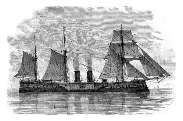 das oesterreichische schlachtschiff tegethoff vintage gravur