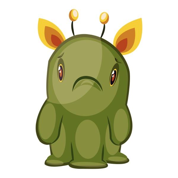illustration von traurigen gruenen monster mit