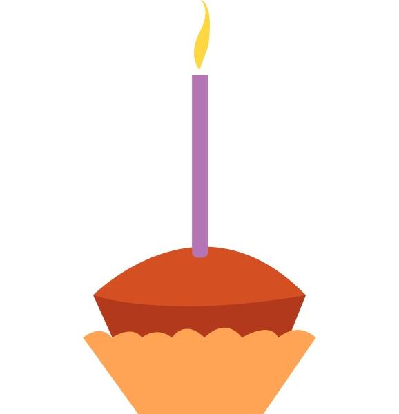 cupcake mit einem kerzenvektor oder farbabbildung