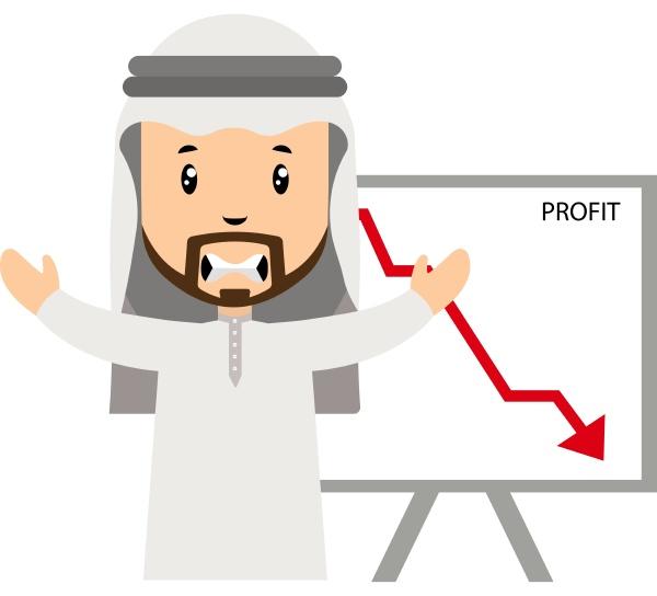 arabisch mit gewinnrueckgang illustration vektor auf