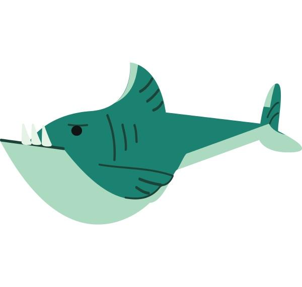 ein blauer hai schwimmen unterwasser vektor