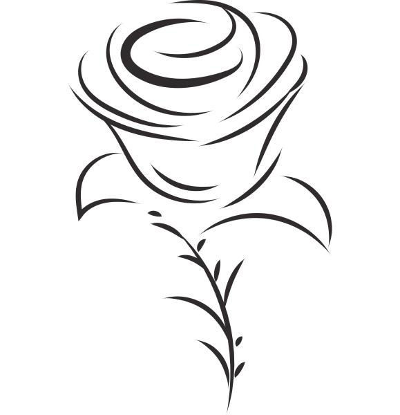 einfache schwarz weisse skizze von rose