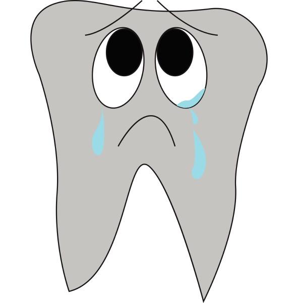 cartoon eines weinenden zahn vektor illustration